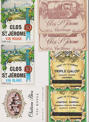 z++26 Wine Labeles 1930's-50's European R+are Old Early Classic Antique Scarce