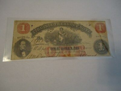 1862 $1 US RED SEAL LARGE SIZE Virginia TREASURY NOTE! Fine Old US Paper Money