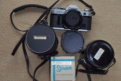 Vintage Canon Ae-1 Program Camera With Extra Lenses, Teleconverter 7 Macro
