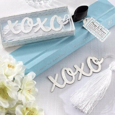 Stainless Steel Silver XOXO BOOKMARK Tassels Page Marker Ribbon Box Best Gift