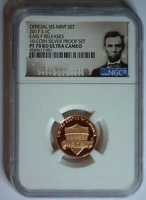 2017-S Lincoln Shield Cent PROOF NGC PF70 Ultra Cameo EARLY RELEASES SILVER SET