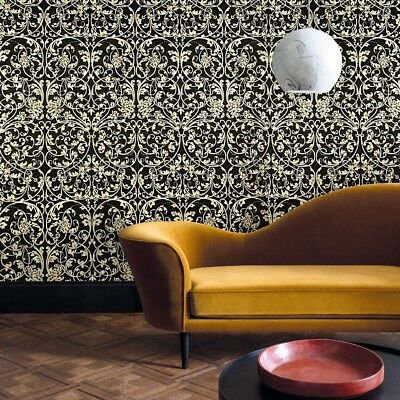 victorian Textured Wallpaper Non-Woven wallcoverings black gold metallic roll 3D