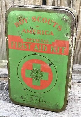 Vintage 1940's Boy Scouts of America First Aid Kit Tin by Johnson & Johnson