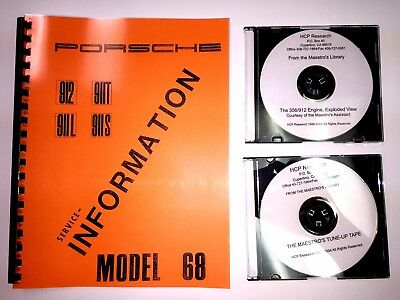 1968 Porsche 911 912 911S 911L 911T Serviceman's Manual + 2 Harry Pellow DVD's