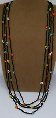 Vintage 1970s Glass seed beaded flower necklaces x 2.  Costume jewellery