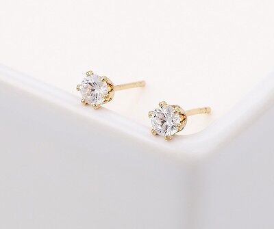 "9ct 9k Yellow ""GOLD FILLED""  Ladies White C/Z Stone Stud Earrings. 2,3,4mm Gift"