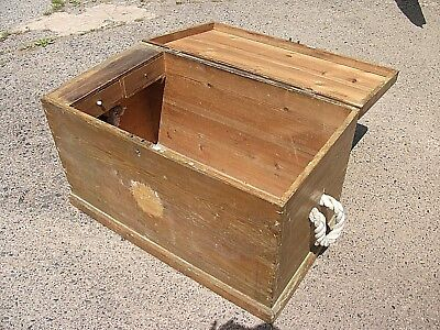 3' Solid Pine Vintage Trunk Drawers Rustic Coffee Table Rope Handles Chest Box