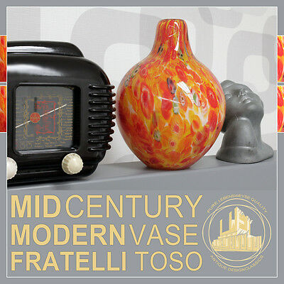 Colorful Mcm Fratelli Toso Murano Italy Mid Century Modern Vase Post Art Deco
