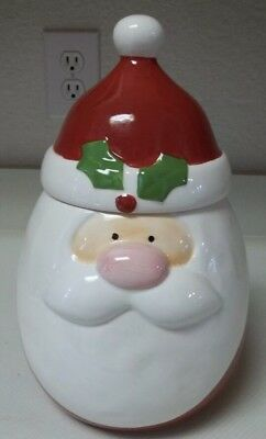 New Oneida Christmas Cut-Outs  Thick Ceramic Santa Cookie Jar For Holiday Treats
