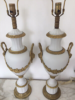 Pair of Antique Bronze French Empire Table Lamps - New Wiring and Restored