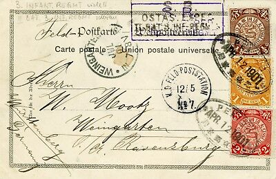 146) Double franking between the German army post and the Chinese Post! Great!