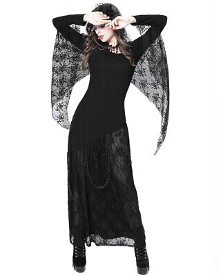 Dark In Love Womens Gothic Maxi Dress Long Black Lace Cape Chain Witch Occult