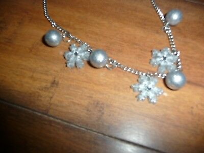 NEW Gymboree North Pole Party Sparkly Silver Snowflake bead Necklace NWT