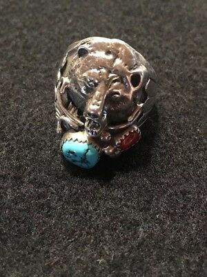 NAVAJO BEAR STERLING SILVER TURQUOISE CORAL Hallmark RB-size 10.5