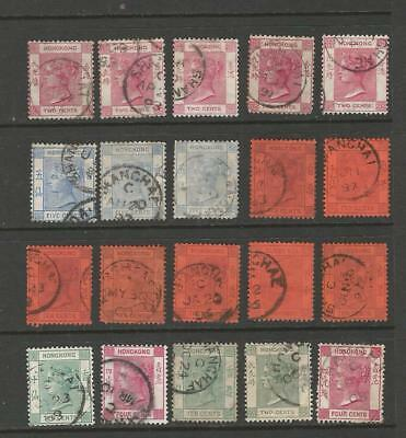 Hong Kong Qv Stamps  Used In Shanghai Treaty Port .