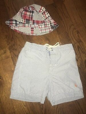 3T Polo Blue White Checkered Bathing Suit Janie & Jack Plaid Beach Hat LOT OF 2
