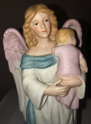 Porcelain Figurine Guardian Angel with Baby #1434 Home Interiors & Gifts HOMCO