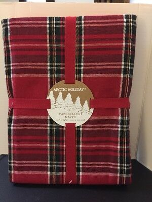 "Arctic Holiday Christmas Tartan PLAID RED White GREEN Tablecloth 60"" Round NEW"