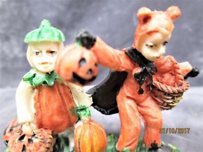 Vintage Scary Kids In The Pumpkin Patch Boy Being A Devil Halloween Decoration
