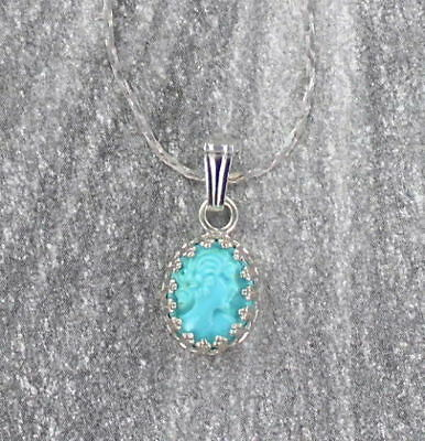 VINTAGE HAND CARVED TURQUOISE  CAMEO PENDANT NECKLACE  in STERLING SILVER