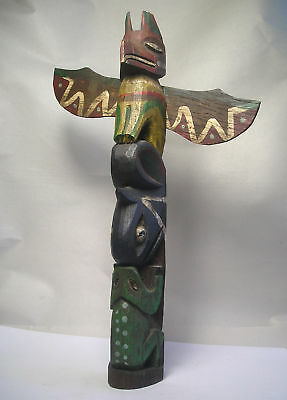 An Antique 1924 Hand Carved Alaskan Totem Pole A3