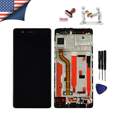 Black For Huawei P9 EVA-L09 LCD Display Touch Screen Digitizer + Frame Assembly