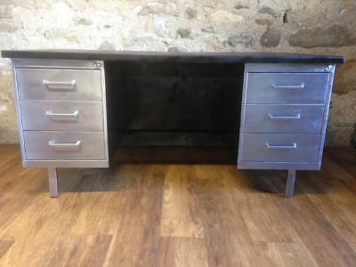 Stunning Vintage Mid Century Stripped Metal Twin Pedestal Office Tanker Desk