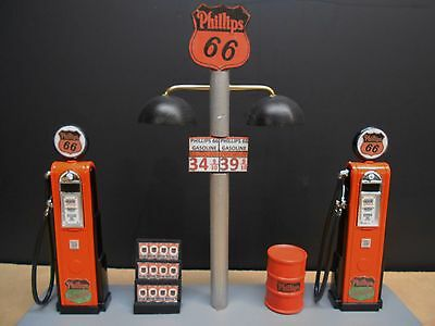 """"""" Phillips 66 """" Gas Pump Island Display W/gas Price Sign, 1:18Th, Hand Crafted,"""