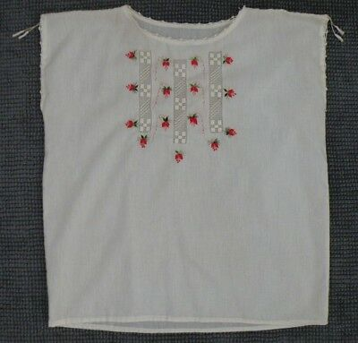 EUC Mexican Womens Embroidered Blouse White Cotton Size Small