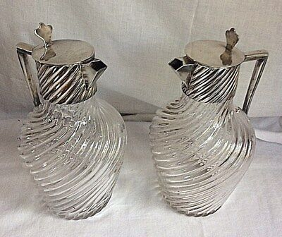 Antique Silverplate & Glass French Victor Saglier 19th c. Pair of Jug Pitcher