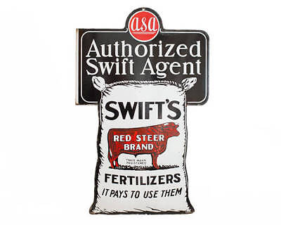 Original 1930's Swifts Red Steer Brand Fertilizer Porcelain Sign W Cow Graphic