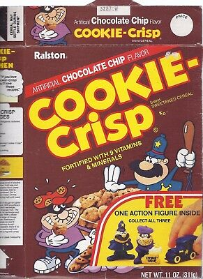 1985 COOKIE- CRISP CEREAL BOX ,empty, Jail House cut-out on back,cottages recipe