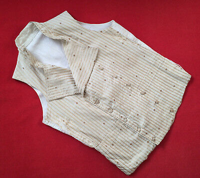 Original Vintage Circa 1800-1820's Double Breasted Beige Stripped Waistcoat Vest