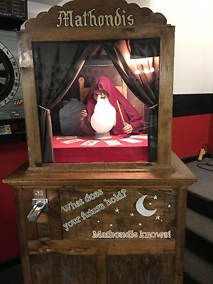 Mathondis Fortune Teller Coin Op Vintage Works Great