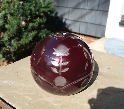 "Large Antique victorian red cut to clear art glass paperweight Bohemian 4""-41/2"""