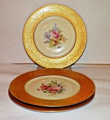 Lot 3 Heinrich H&C  Gold Encrusted Floral Center Dinner Plate Selb Bavaria China