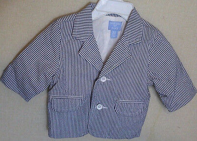 Childrens Place Baby Boys Size 0-3 Blue and White Striped Blazer/Jacket