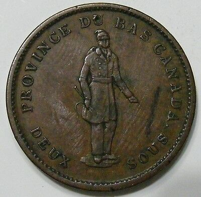 LC-9B1 ONE PENNY Lower Canada Token - Quebec Bank 1837 Breton 521 EF Details