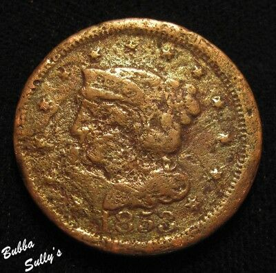 1853 Braided Hair Large Cent <> VG Details