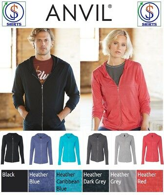 Anvil Ladies 6759L OR Mens 6759 Triblend Hooded Full-Zip Shirts XS-3XL NEW SALE