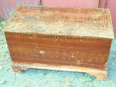 Antique Grain Painted Small Blanket chest