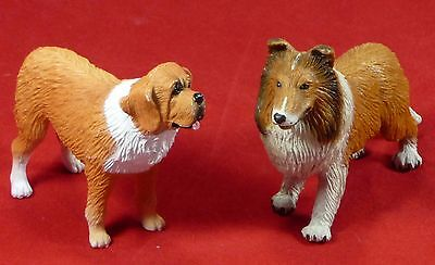 Set of 2 Collectible Collie and St. Bernard Composite Plastic Dog Figurines