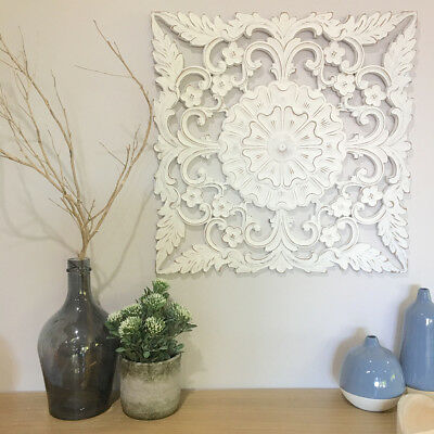Square Carved Wall Panel 60cm/Ready To Hang Art/Neutral/Hamptons/Coastal