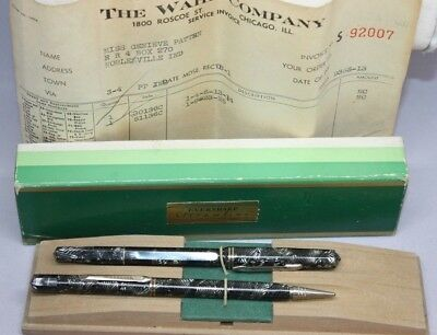 1930s Vintage Art Deco WAHL Eversharp Streamline Fountain Pen Pencil Set Doric