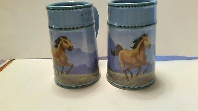 The Spirit Stallion of the Cimarron 2002 Breyer Blue Tanker Mugs Exc. Condition
