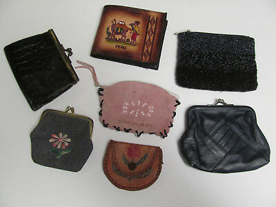 VINTAGE LOT of 7 Change Coin Purses Leather Bead Fabric