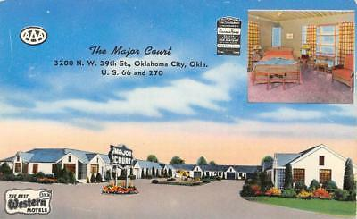 THE MAJOR COURT Oklahoma City, OK Route 66 Roadside ca 1950s Vintage Postcard