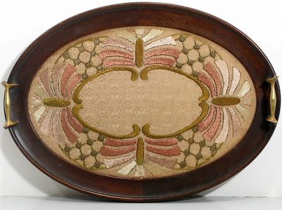 Victorian Needlepoint Textile Walnut Wooden Tray Thanksgiving Holiday Display