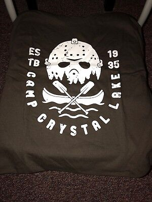 6e91e5a1d Teefury Men's LARGE Brown T-Shirt Camp Crystal Lake Friday the 13th Jason