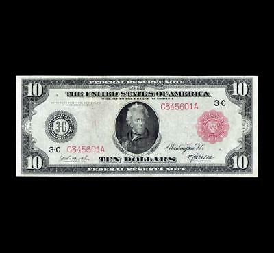 Ultra Rare 1914 $10 Red Seal Federal Reserve High End Very Fine